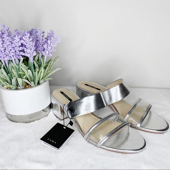 NWT Zara Silver Low Chucky Heeled Sandal Size 9